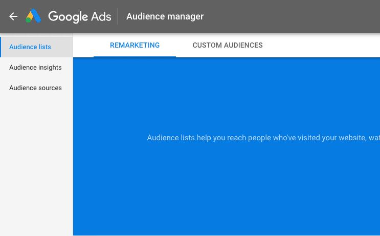 Google remarketing for events: Målgruppekilder.
