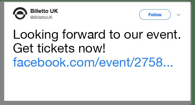 Dele event på Twitter: Ingen direkte link